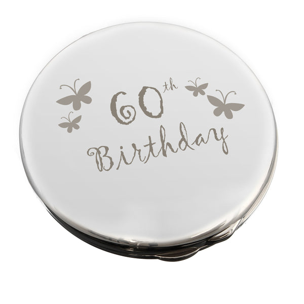 60th Butterfly Round Compact Mirror white background