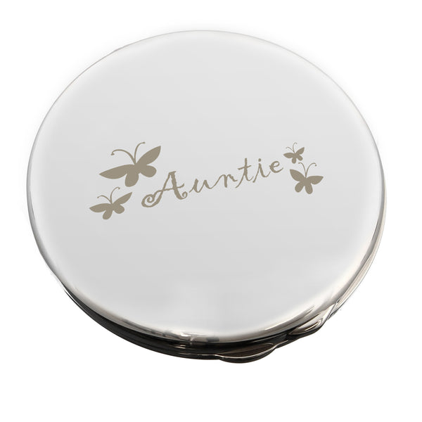 Auntie Round Compact Mirror white background