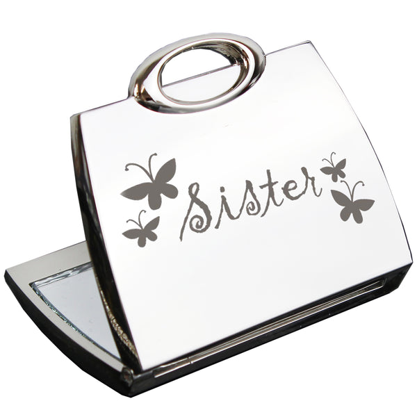 Sister Handbag Compact Mirror white background