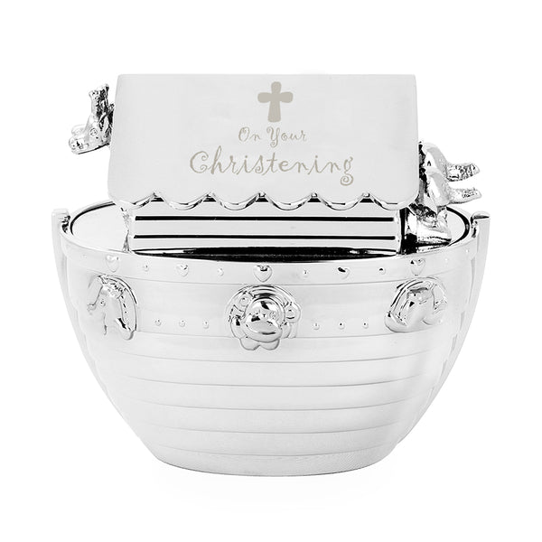 Christening Noahs Ark Money Box white background
