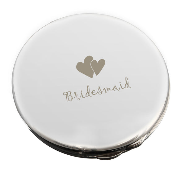 Bridesmaid Round Compact Mirror white background