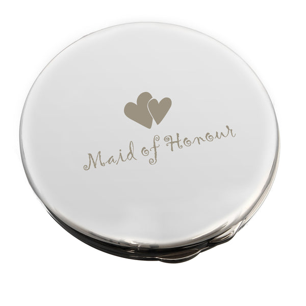 Maid of Honour Round Compact Mirror white background