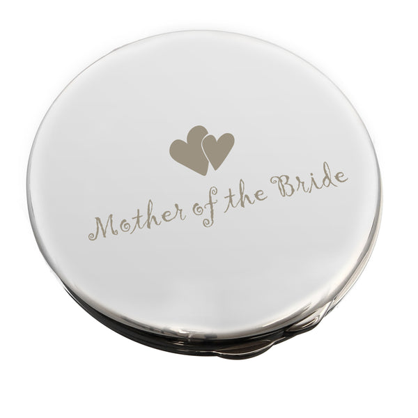 Mother of Bride Round Compact Mirror white background