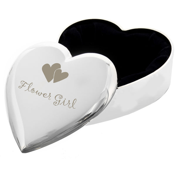 Flower Girl Heart Trinket Box white background