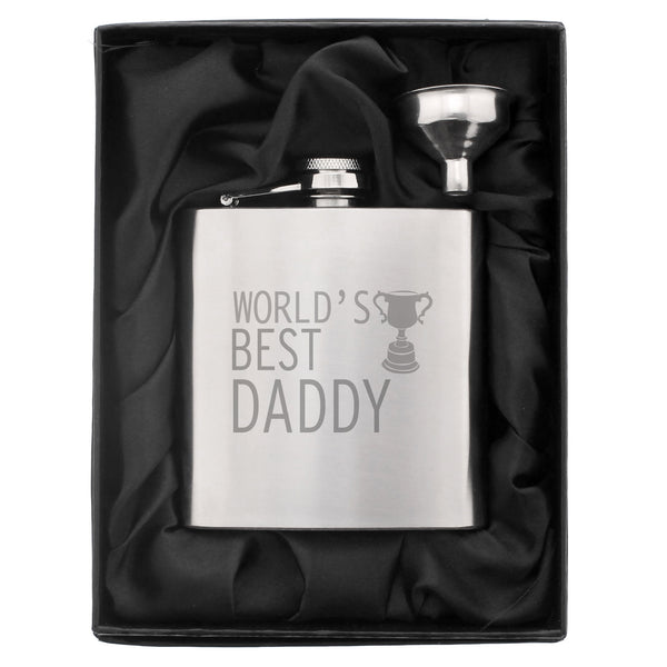 Worlds Best Daddy Hip Flask white background