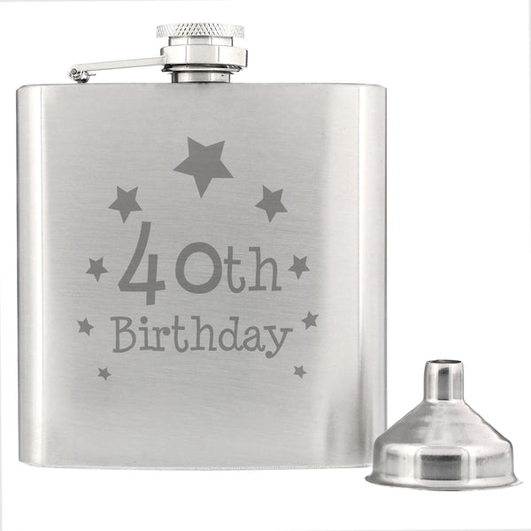 40th Birthday Hip Flask from Sassy Bloom Gifts - alternative view