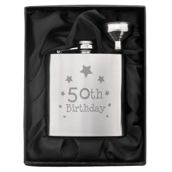 50th Birthday Hip Flask white background