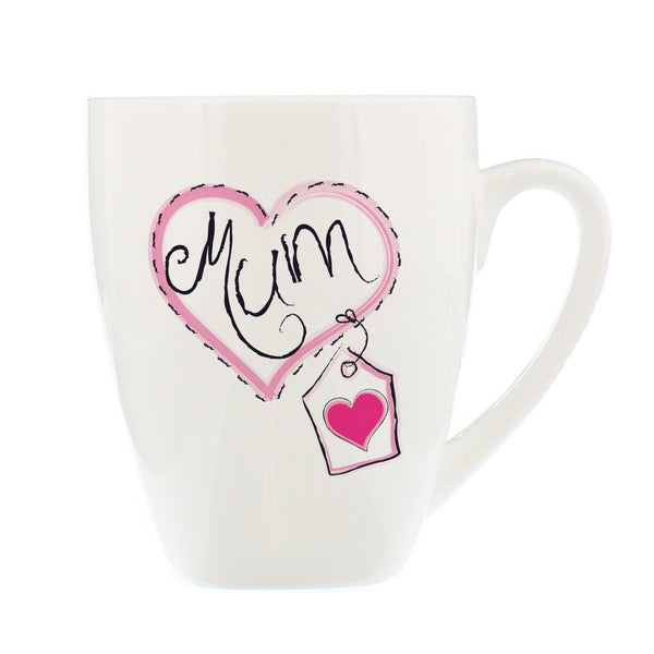 Mum Heart Stitch Latte Mug white background