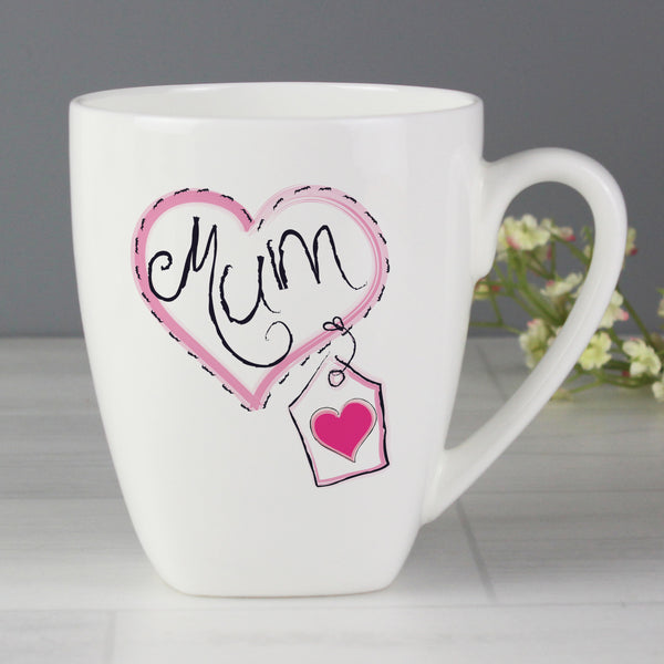 Mum Heart Stitch Latte Mug