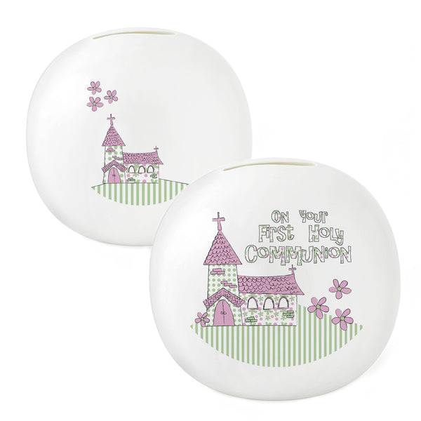 Pink First Holy Communion Church Money Box white background