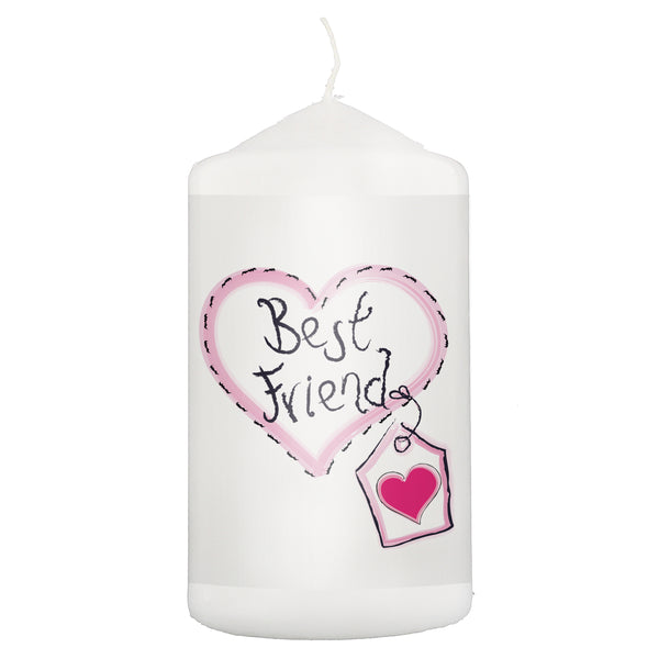 Best Friend Heart Stitch Candle white background
