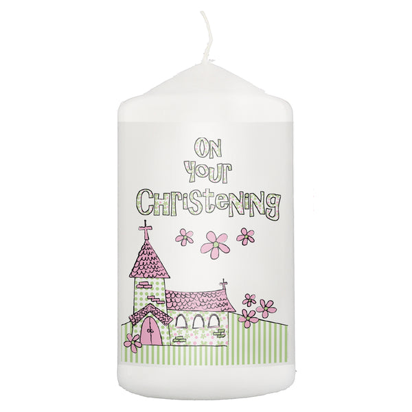 Pink Christening Church Candle white background