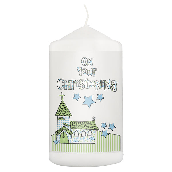 Blue Christening Church Candle white background