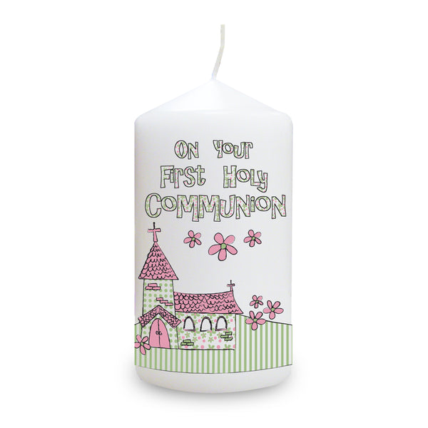Pink First Holy Communion Church Candle white background