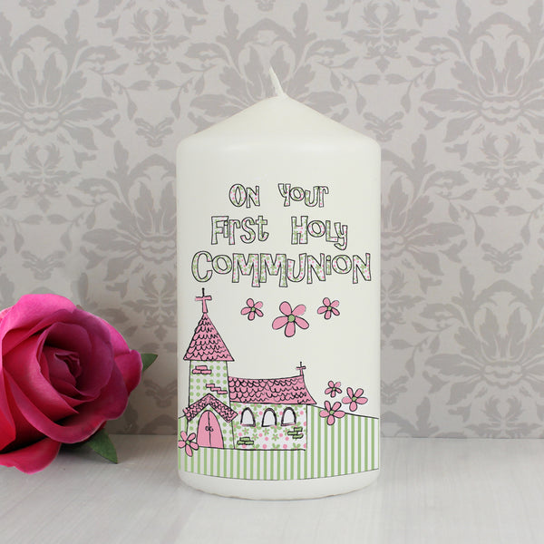 Pink First Holy Communion Church Candle