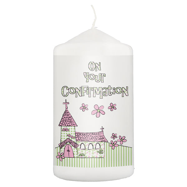 Pink Confirmation Church Candle white background