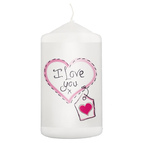 Heart Stitch - I Love You Candle white background