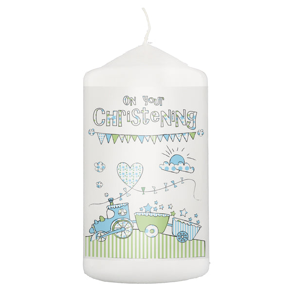 Whimsical Train Christening Candle white background