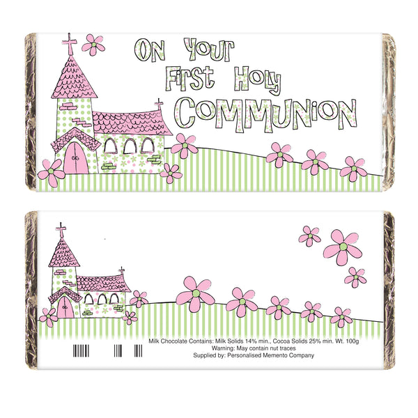 Pink On Your Communion Church Milk Chocolate Bar white background