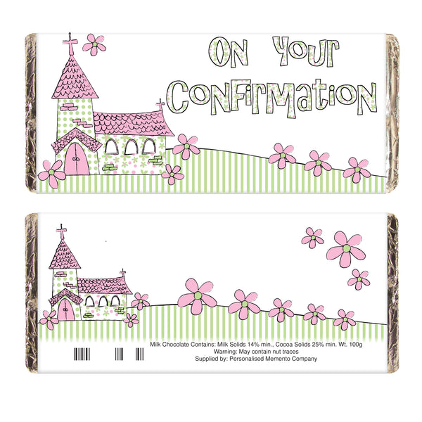Pink On Your Confirmation Church Milk Chocolate Bar white background