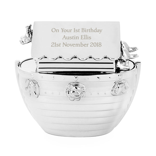 Personalised Silver Noahs Ark Money Box white background