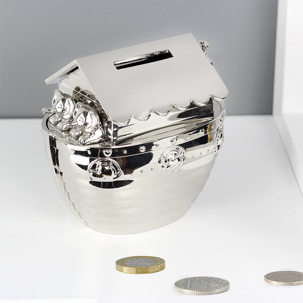 Personalised Silver Noahs Ark Money Box from Sassy Bloom Gifts - alternative view