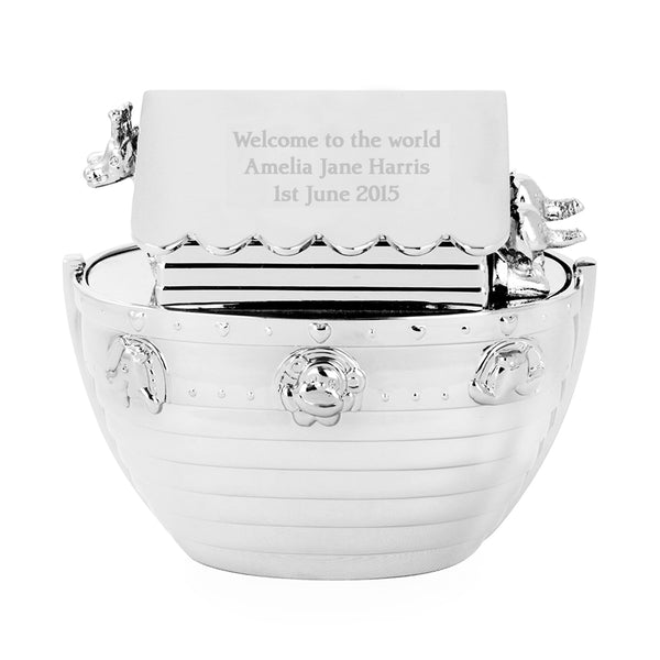 Personalised Silver Noahs Ark Money Box with personalised name