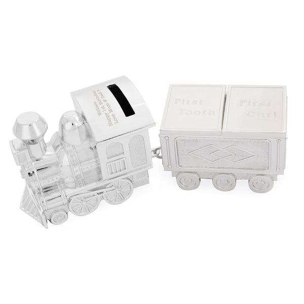 Personalised Train Money Box with Tooth & Curl Trinket Box white background