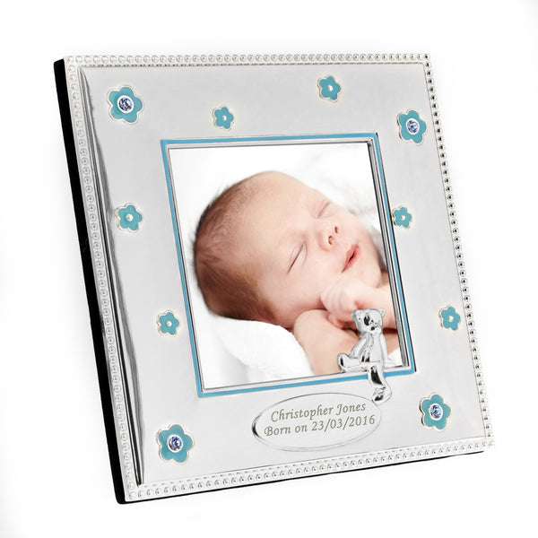 Personalised Blue Flowers 3x3 Photo Frame white background