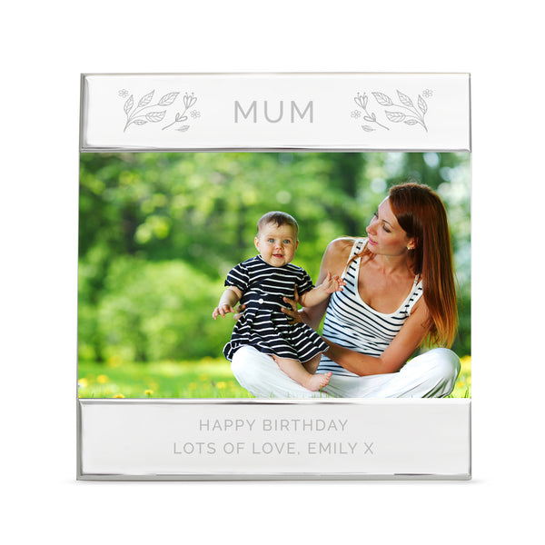 Personalised Silver Floral Square 6x4 Photo Frame white background