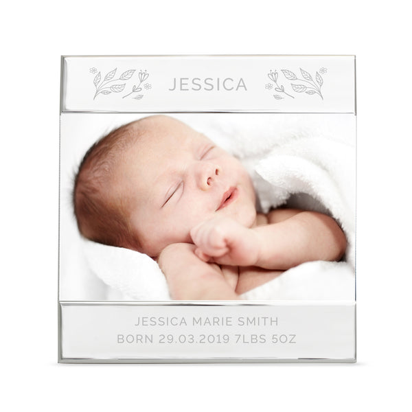 Personalised Silver Floral Square 6x4 Photo Frame lifestyle image