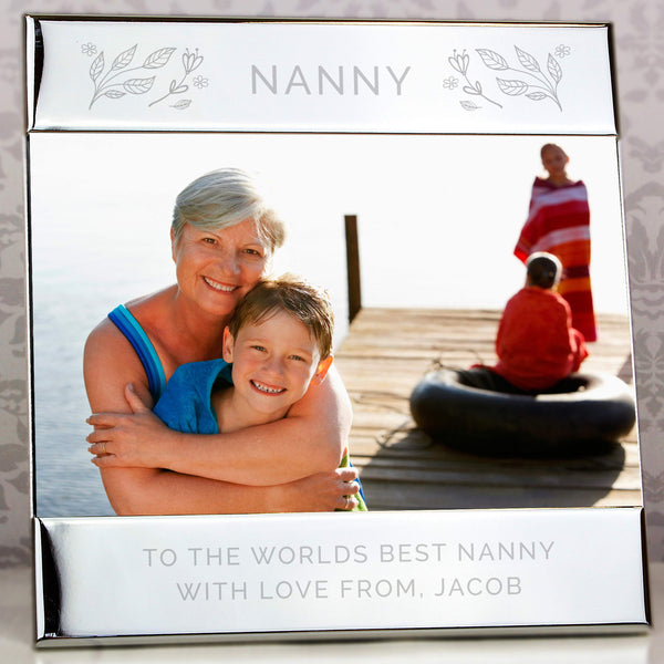 Personalised Silver Floral Square 6x4 Photo Frame