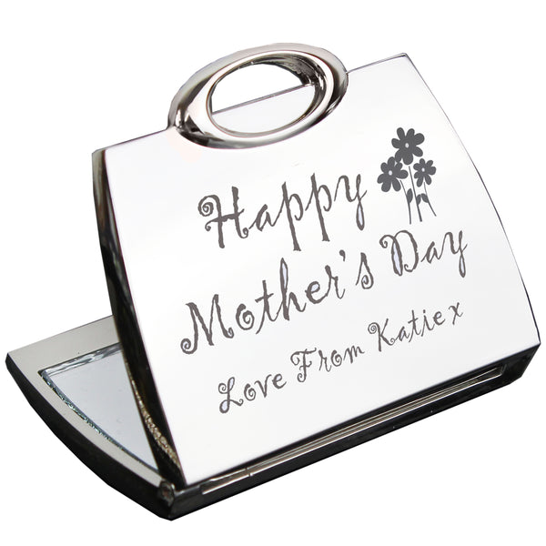Personalised Happy Mothers Day Compact Mirror white background