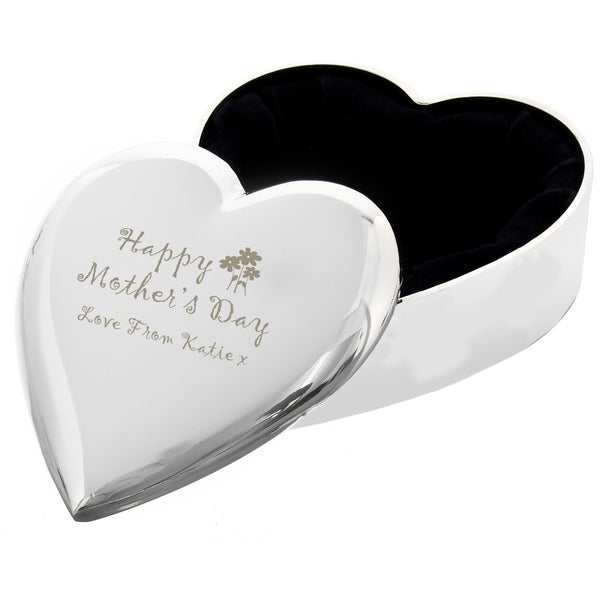 Personalised Happy Mothers Day Heart Trinket Box white background
