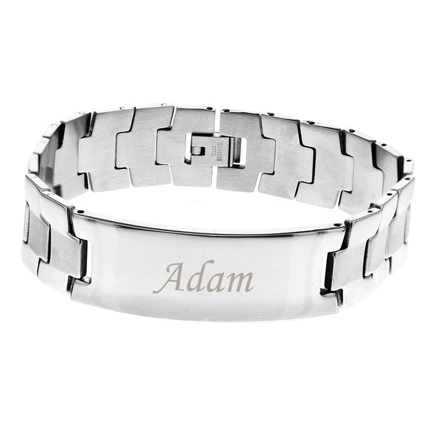 Personalised Stainless Steel Men's ID Bracelet white background