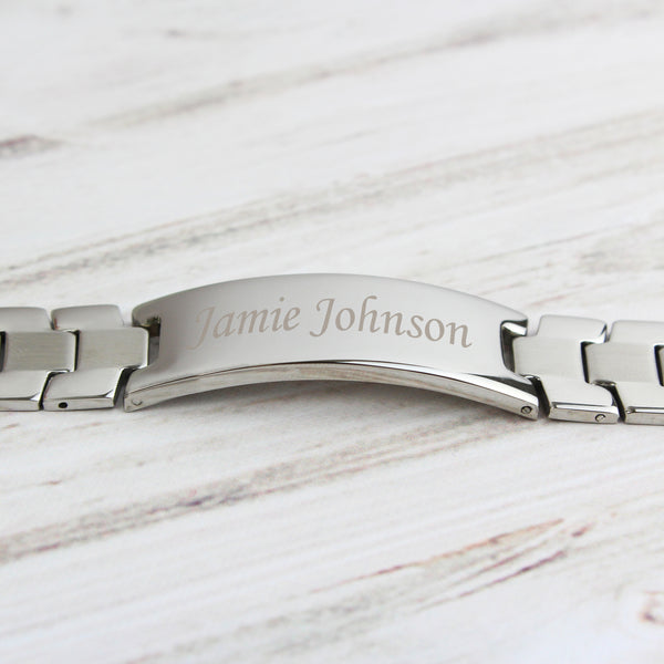 Personalised Stainless Steel Men's ID Bracelet from Sassy Bloom Gifts - alternative view