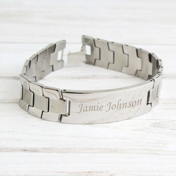 Personalised Stainless Steel Men's ID Bracelet with personalised name