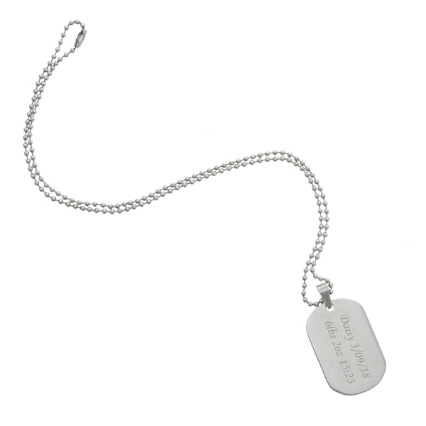 Personalised Stainless Steel Dog Tag Necklace white background