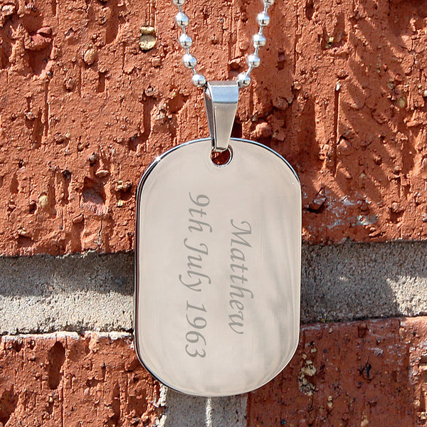 Personalised Stainless Steel Dog Tag Necklace from Sassy Bloom Gifts - alternative view