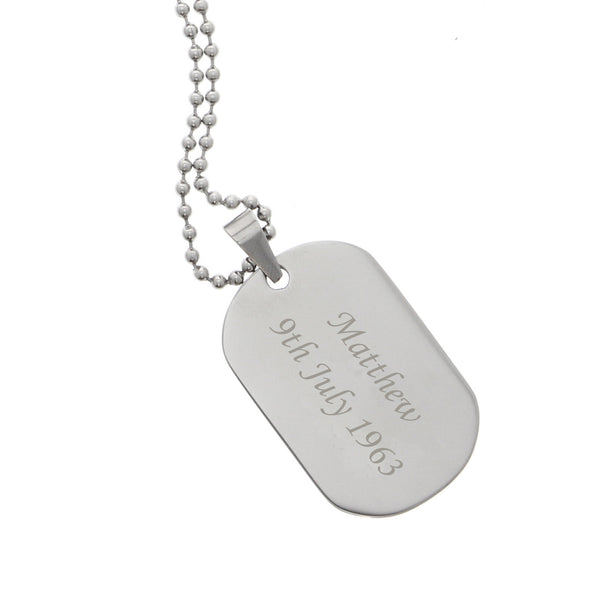 Personalised Stainless Steel Dog Tag Necklace lifestyle image