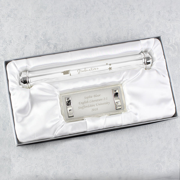 Personalised Graduation Silver Plated Certificate Holder from Sassy Bloom Gifts - alternative view