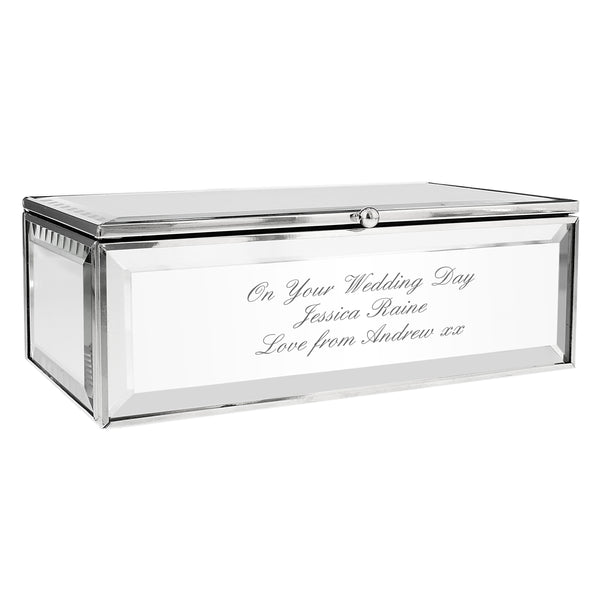 Personalised Any Message Mirrored Jewellery Box white background