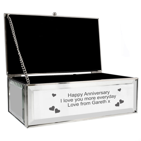 Personalised Hearts Mirrored Jewellery Box white background
