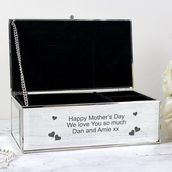Personalised Hearts Mirrored Jewellery Box with personalised name