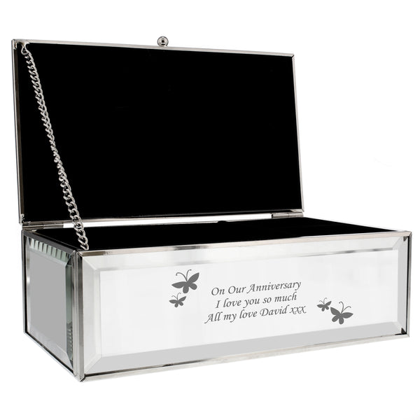 Personalised Butterflies Mirrored Jewellery Box white background