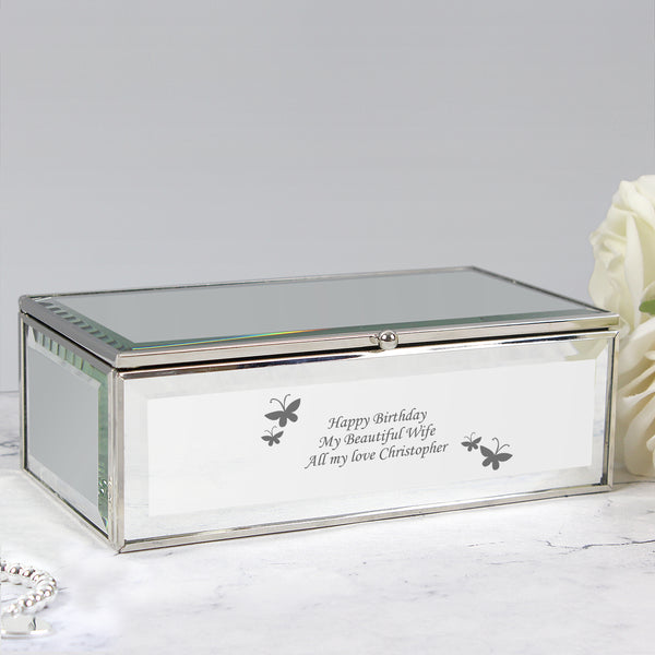Personalised Butterflies Mirrored Jewellery Box from Sassy Bloom Gifts - alternative view