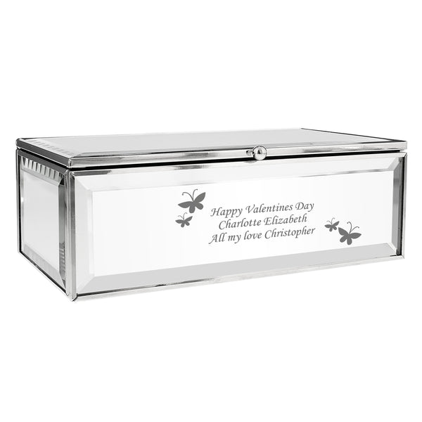 Personalised Butterflies Mirrored Jewellery Box lifestyle image