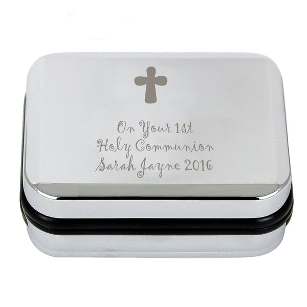 Personalised Cross Necklace and Box white background