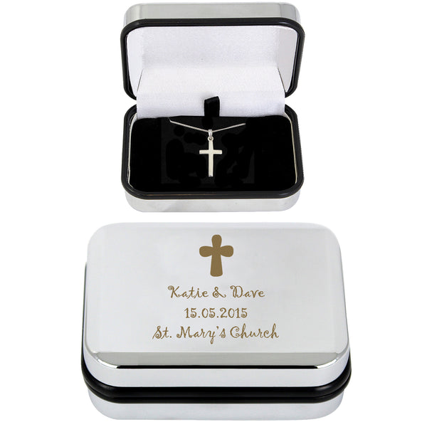 Personalised Cross Necklace and Box with personalised name