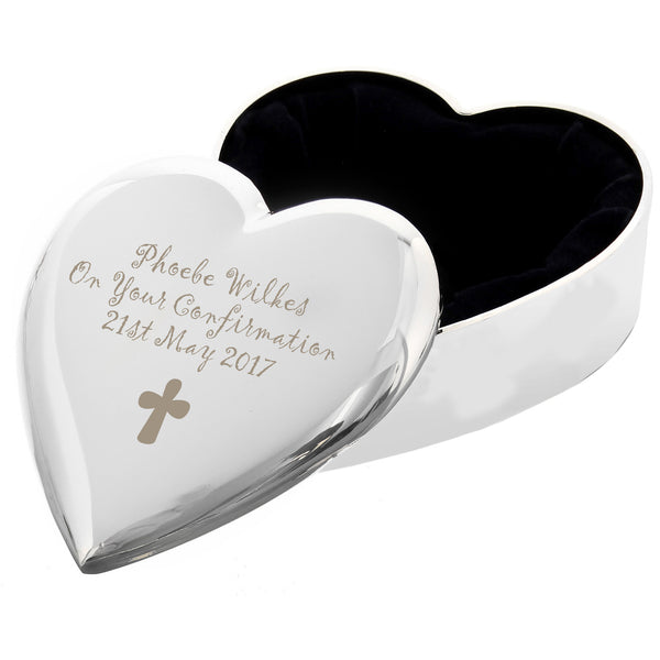 Personalised Cross Heart Trinket Box white background